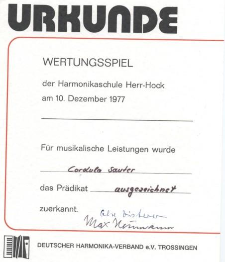 Urkunde 1977